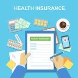 Man på tabellpåfyllningarna i form av sjukförsäkring vart begreppshanden har den sena pillen för sjukvårdhjälp också vektor för c vektor illustrationer