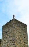 Man på tornet Arkivfoton