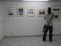 Man på utställningen av fotogrupp` f 5 6 `, Arkivfoto