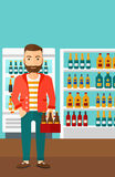 Man with pack of beer. Stock Images