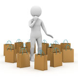 Man with packets. 3d rendering Royalty Free Stock Photo
