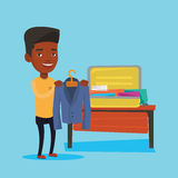 Man packing his suitcase vector illustration. Stock Photography