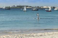 Man on paddle board Barbados Royalty Free Stock Photos