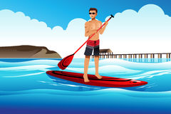 Man paddle boarding in the ocean. A vector illustration of man paddle boarding in the ocean Stock Image