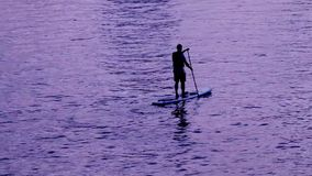 Man paddle boarding at sunset. stock video footage