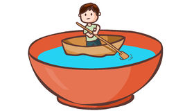 A man paddle boat in the bowl  Stock Photography