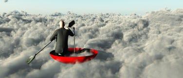 Man paddling through clouds Stock Image
