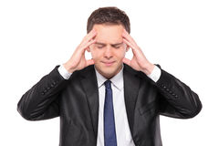 Man in pain as a result of a headache Royalty Free Stock Photos