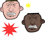 Man In Pain. European and African men in pain over white background Royalty Free Stock Photos