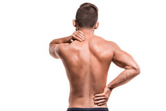 Man with pain in shoulder stock photo