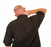 Man with painful neck Stock Images