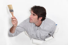 Man with paint brush Royalty Free Stock Photo