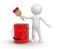 Man with paint can and brush (clipping path included) Royalty Free Stock Photo