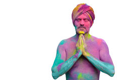 Man in paint holi. Senior man in traditional Indian turban fully covered with paint holi Royalty Free Stock Photography