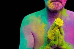 Man in paint holi. Senior man in traditional Indian turban fully covered with paint holi Stock Photos