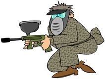 Man with a paintball gun. This illustration depicts a man dressed in camouflage and face mask carrying a paintball rifle Royalty Free Stock Photo