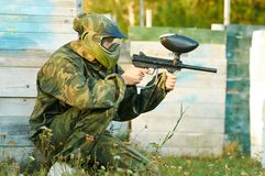 Man paintball player Royalty Free Stock Photography