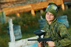 Man paintball player Stock Images