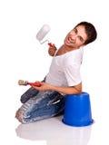 Man with paintbrush. Stock Image