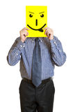 Man with the painted happy smile Stock Image
