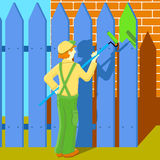 Man painter. Working near house Royalty Free Stock Photography