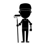 Man painter with roller and cap pictogram Stock Photography