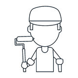 Man painter with roller and cap thin line Royalty Free Stock Photography
