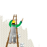 Man painting. A wall from a ladder Stock Photos