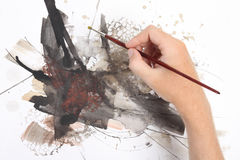 Man painting abstract picrure Stock Image