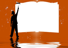Man painting on a book. A silhouette illustration of a man, painting on the pages of a book with a roller Royalty Free Stock Images