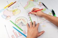 Man painting diagrams Royalty Free Stock Image