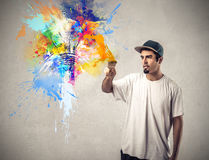 Man painting and drawing Royalty Free Stock Images