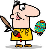 Man painting easter egg cartoon illustration Stock Photography