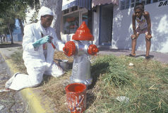 Man painting a fire hydrant Royalty Free Stock Image