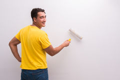 The man painting house in diy concept Royalty Free Stock Photos