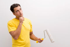 The man painting house in diy concept Royalty Free Stock Images