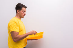 The man painting house in diy concept. Man painting house in DIY concept Royalty Free Stock Images