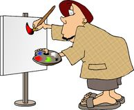 Man painting a sign royalty free illustration