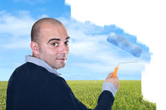 Man painting sky Stock Photo