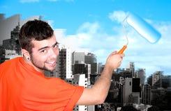 Man painting sky Stock Photos