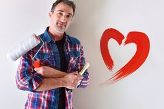 Concept of love for decoration of interior painting with portrait royalty free stock photo
