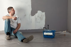 Man painting a wall. Royalty Free Stock Image
