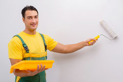The man painting the wall in diy concept Royalty Free Stock Photos