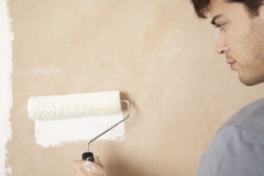 Man Painting Wall With Paint Roller Royalty Free Stock Photos