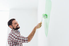 Man painting walls Royalty Free Stock Images