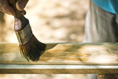 Man painting wood with lacquer natural color. Royalty Free Stock Images