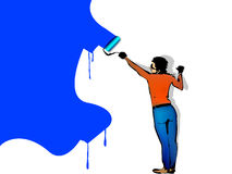 Man paints the wall by roller Royalty Free Stock Photography