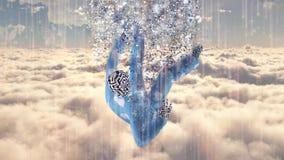 Falling in the dreams. Man in pajamas falling in the dreams stock illustration