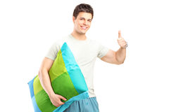 Man in pajamas giving thumb up Royalty Free Stock Photo