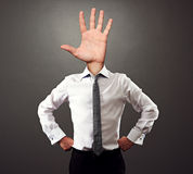 Man with palm hand gesture instead of the head Royalty Free Stock Photo